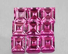 3.00 mm Square 9pcs 1.27cts Pink Tourmaline [VVS]