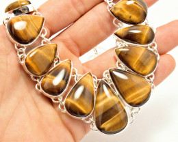 390.2 Tcw. Natural Tiger Eye / Sterling Silver Necklace - Stunning