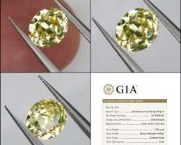 GIA Certified Fancy Green Yellow Loose Natural Diamond Oval 1.09ct 6.6x5.6m