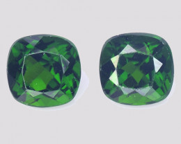 Chrome Diopside 2.19 Cts 2Pcs Natural Green Color Gemstone