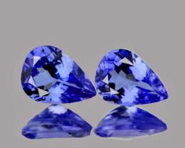 6x4 mm Pear 2 pcs 0.66ct Purple Blue Tanzanite [VVS]