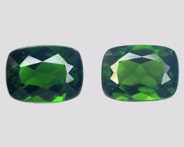 Chrome Diopside 3.35 Cts 2Pcs Natural Green Color Gemstone