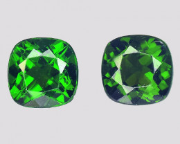 Chrome Diopside 2.17 Cts 2Pcs Natural Green Color Gemstone