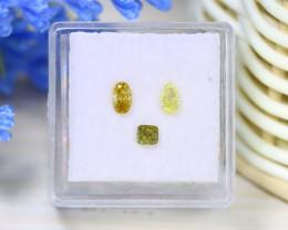 0.66Ct 3Pcs Natural Yellow Green Diamond Untreated Genuine B1937