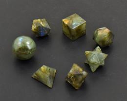 Genuine 221.00 Cts Golden & Blue Flash Labradorite Geometry Set