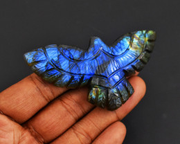 Genuine 171.00 Cts Blue Flash Labradorite Carved Eagle