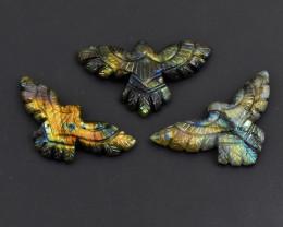 Genuine 166.00 Cts Amazing Flash Labradorite Carved Eagle Set