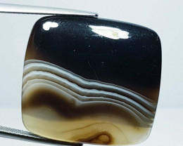 41.43 ct Natural Black Lace Agate Rectangular Cabochon  Gemstone