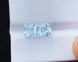 3.15 Ct Natural Blueish Transparent Aquamarine Gemstones Pairs