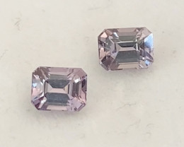Pretty Silver Grey with a Pink undertone - Spinel Pair - Burma