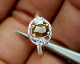 9Crt Sphene 925 Silver Ring Natural Gemstones JI68