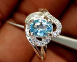 18Crt Blue Topaz 925 Silver Ring Natural Gemstones JI68