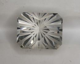 Master Cut Checker Board Cut on White Topaz Gemstone From Pakistan