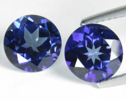 4.86Cts Sparkling Natural Tanzanite Color  Topaz Round  Matching Pair REF V