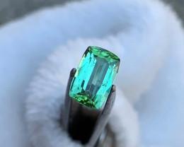 Mint Green Emerald cut Tourmaline Gemstone~Afghanistan