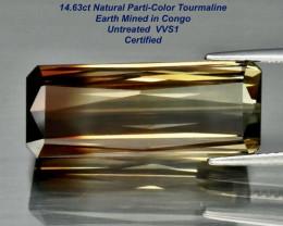 14.63ct Parti-color Tourmaline - Congo /21.82 x 9mm/ Certified