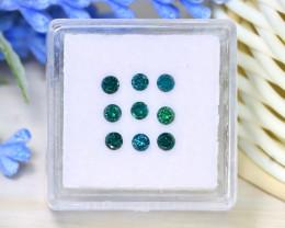 0.67Ct 9Pcs 2.5mm Round Cut Natural Green Diamond Genuine B2204