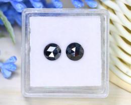1.42Ct 2Pcs Rose Cut Natural Black Color Diamond Genuine B2231