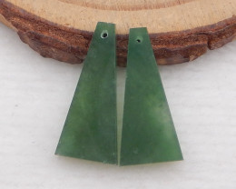 i140 - 8.5cts natural jade earring beads pair,Natural Trapezoid earrings