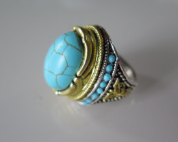 New arrival turquoise tibetan ring size 7 1/2
