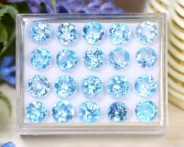 Blue Topaz 32.05Ct VS Round Cut Natural Sky Blue Topaz Lot Box A2306