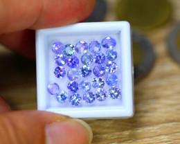 6.25ct Natural Violet Blue Tanzanite 4.1mm Round Cut Lot LZ8785