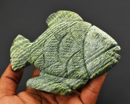 Genuine 858.00 Cts Serphenite Carved Fish