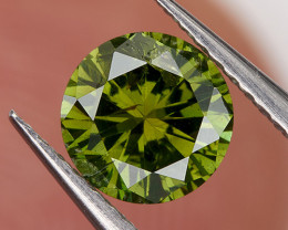 0.40 Ct 4.6mm SI Fancy Bottle Green* Loose Natural Diamond Round for Jewelr