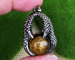 68.685Cts Tiger Eye Claw 100% Natural Unheated Antique Style Pendant