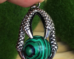 59.650Cts Malachite Claw 100% Natural Unheated Antique Style Pendant