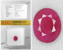 Burma Ruby 6.25 Cts AIG Certified Red Color Natural Gemstone