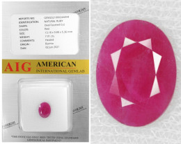 Burma Ruby 7.01 Cts AIG Certified Red Color Natural Gemstone