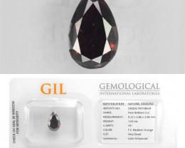 Diamond 1.04 Cts GIL Certified Fancy Vivid Reddish Orange Natural
