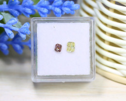 0.44Ct 2Pcs Natural Pink Yellow Diamond Untreated Genuine B2401