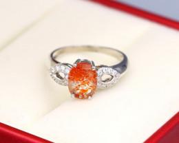 1.23Ct Sunstone Natural Untreated Orange Sunstone Silver B0209