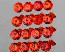 1.80 mm Round Machine Cut 30 pcs 1.00ct Reddish Orange Sapphire [VVS]