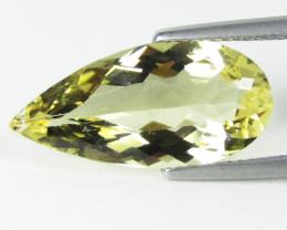 5.17Cts  Genuine Natural heliodor Yellow Beryl Pear Shape Loose Gemstone RE