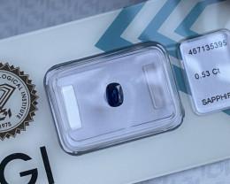 Fine DEEP Blue Sapphire 0.53ct Cushion Cut IGI CERTIFIED Loose Rare Gem