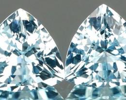 Well Cut Aquamarine Trillion Pair 2.24Ct
