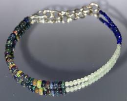 Lapis, Moonstone & Smoked OPAL Beads Bracelet