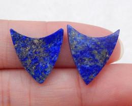 D2138 - 7.5cts New design Carved Lapis Lazuli Gemstone Cabochon Pair