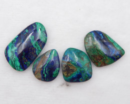 D2153 - 69.5cts 4pcs Beautiful Nugget Blue Azurite Cabochon,Natural Blue Az