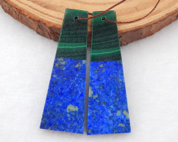 i148 - 44ts New Arrival Intarsia Malachite,Lapis Lazuli Intarsia  Bead Pair