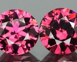 *$15NR* Diamond Cut Rhodolite Garnet Round Pair 2.48Ct