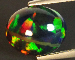 2.88Cts Natural Earth Mined Color Play Black Opal Oval Cabochon Gem REF VOD