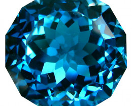 6.84Cts Sparkling Natural London Blue Topaz Round Custom Cut Loose Gem vide
