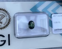 FINE Australian 1.05ct UNTREATED Green Blue Teal Sapphire Oval Cut IGI CERT