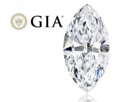 GIA Certified 0.80 Ct. G VS1 Loose Natural White Diamond Marquise Inscripti