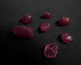 42.56 carat 7 pcs Transluscent Heated madagascar ruby gem rough