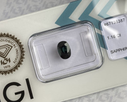 Australian 1.18ct UNTREATED Deep Green Blue Teal Sapphire Oval Cut IGI CERT